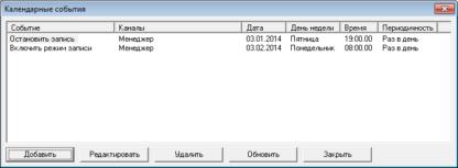 Программное обеспечение AudioSP-12 события