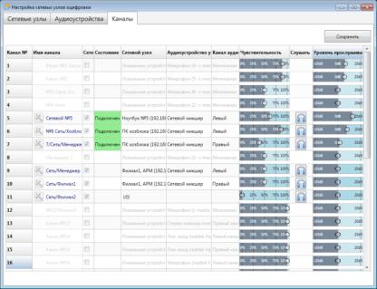 Программное обеспечение AudioSP-12 kanaly 1
